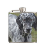 Adorable Black and White English Setter Hip Flask