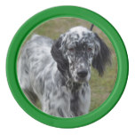 Adorable Black and White English Setter Poker Chips Set