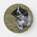 Adorable English Cocker Spaniel Round Clock