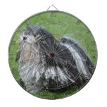 Black and White Puli Dog Dartboard With Darts
