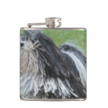 Black and White Puli Dog Hip Flask