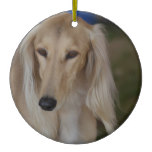 Blonde Saluki Dog Ceramic Ornament