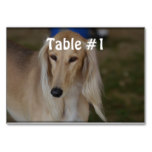Blonde Saluki Dog Table Number