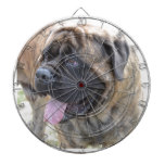 Brindle Mastiff Dartboard With Darts