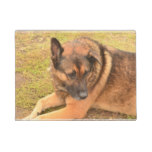 German Shepherd with One Floppy Ear Doormat