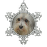 Havanese Dog Snowflake Pewter Christmas Ornament
