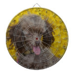 Sweet Tiny Brown Poodle Dartboard With Darts